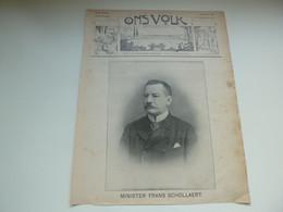 """Origineel Knipsel ( 3712 ) Uit Tijdschrift  """" Ons Volk """"  1911 :  Minister Frans Schollaert  Wilsele Bij Leuven - Zonder Classificatie"""