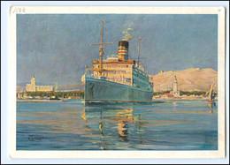XX13386/ Dampfer P.D. Usaramo Verläßt Malaga  Woermann-Linie AK Ca.1935  - Steamers