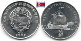 Corée Du Nord - ½ Chon 2002 (Viking Ship)(UNC) - Korea, North