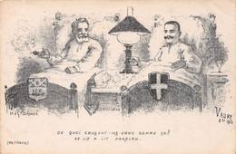 Le Roi D'ITALIE Victor-Emmanuel III Et Le Président Français Emile Loubet - Carte Satirique Dessinée Par VAURY, 1903 - Unclassified