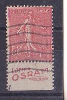 BANDE PUB OBLITERE 50 C SEMEUSE  LIGNEE  TYPE IV     LAMPE OSRAM UINIS FRANCE - Publicidad