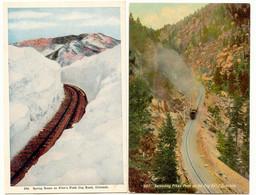 USA 1920 2 Pc's Of Pikes Peak Cog Road, Colorado, USA, Colored, Unused, Superb - Trains