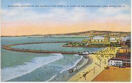 USA 1930/40 Superb Mint Col Pc Municipal Auditorium And Rainbow Pier LONG BEACH - Long Beach