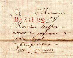 J457 Hérault 1783 Sur LAC De Beziers Cachet Rouge  PRIX EN BAISSE - 1701-1800: Precursors XVIII