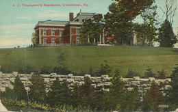 USA 1920 Mint Coloured Pc (faults, Creased) J.V. Thompson's Residence, UNIONTOWN - Other