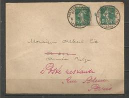 """France - Millésimes - Semeuse Camée N°137 Type I * - Année 1914 - Obl.""""Postes Militaires Belgique 6"""" Du 4-7-1917 - Millesimes"""