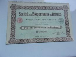 BRIQUETERIES DE BAMAKO (fondateur) PARIS (1925) - Sin Clasificación