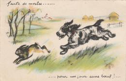 """Germaine BOURET - """" Faute De Merles ...pour Un Jour Sans Boeuf ... """" 1941 Chien épagneul  Lièvre - Bouret, Germaine"""