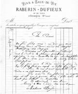 TIRANGES RABERIN DUFIEUX Vins Et Eaux De Vie - 1800 – 1899