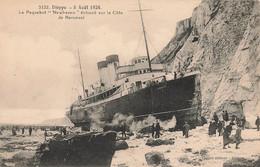 76 Dieppe 5 Aout 1924 Bateau Paquebot Newhaven échoué Sur La Cote De Berneval - Dieppe