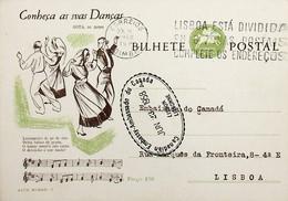 1958 Inteiro Postal Tipo «Conheça As Suas Danças» De 50 C. Enviado Da Figueira Da Foz Para Lisboa - Ganzsachen