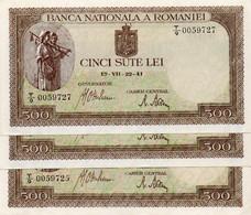ROMANIA 500 LEI 22-07-1941  P-51a.3   UNC  CONSECUTIVE  SERIE T/9 0059725,26,27 - Rumania