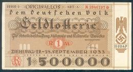 """Deutschland, Germany - """" Dem Deutschen Volk """", GELDLOTTERIE, FOTO & DOKUMENT Der NSDAP, 1933 ! - Other"""