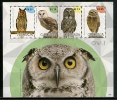 Grenada 2015 Owls Birds Of Prey Wildlife Fauna Sheetlet MNH # 9682 - Eulenvögel