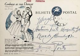 1964 Inteiro Postal Tipo «Conheça As Suas Danças» De 50 C. Enviado De Nelas Para Lisboa - Ganzsachen