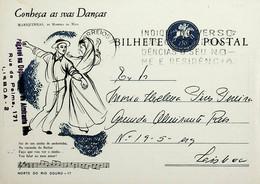 1963 Inteiro Postal Tipo «Conheça As Suas Danças» De 50 C. Enviado De Lisboa - Ganzsachen
