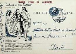 1964 Inteiro Postal Tipo «Conheça As Suas Danças» De 50 C. Enviado De Aveiro Para Lisboa - Ganzsachen