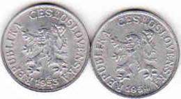 Tschechoslowakei - Tchécoslovaquie 2 X 1 Halier, Haler 1953 + 1954 - Czechoslovakia
