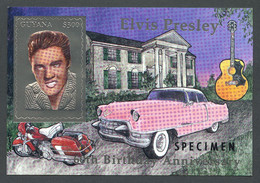 Guyana, 1994, Elvis Presley, Singer, Cadillac, Harley Davidson, Guitar, Silver, SPECIMEN, MNH, Michel Block 404 - Guiana (1966-...)