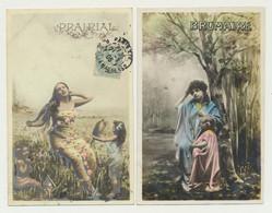 Lot De 2 Cartes Fantaisie...femme Et Enfant - Saisons  Mois....brumaire Et Prairial - Mujeres