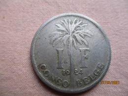 Congo Belge 1 Franc 1924 - 1910-1934: Albert I