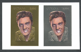 Guyana, 1994, Elvis Presley, Singer, Gold, Silver, MNH Imperforated, Michel 4526-4527B - Guiana (1966-...)