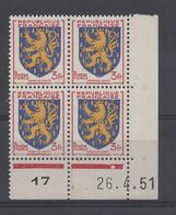BLASON FRANCHE COMTE N° 903 - Bloc De 4 COIN DATE - NEUF SANS CHARNIERE - 26/4/51 - 1950-1959