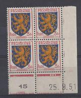 BLASON FRANCHE COMTE N° 903 - Bloc De 4 COIN DATE - NEUF SANS CHARNIERE - 25/9/51 - 1950-1959
