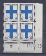 BLASON MARSEILLE N° 1180 - Bloc De 4 COIN DATE - NEUF SANS CHARNIERE - 15/10/58 - 1950-1959