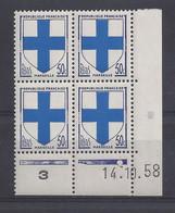 BLASON MARSEILLE N° 1180 - Bloc De 4 COIN DATE - NEUF SANS CHARNIERE - 14/10/58 - 1 Point - 1950-1959