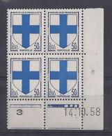 BLASON MARSEILLE N° 1180 - Bloc De 4 COIN DATE - NEUF SANS CHARNIERE - 14/10/58 - 3 Points - 1950-1959