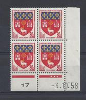 BLASON TOULOUSE N° 1182 - Bloc De 4 COIN DATE - NEUF SANS CHARNIERE - 3/10/58 - 3 Points - 1950-1959