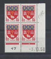 BLASON TOULOUSE N° 1182 - Bloc De 4 COIN DATE - NEUF SANS CHARNIERE - 3/10/58 - 1 Point - 1950-1959