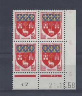 BLASON TOULOUSE N° 1182 - Bloc De 4 COIN DATE - NEUF SANS CHARNIERE - 21/11/58  - 3 Points - 1950-1959