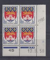 BLASON BORDEAUX N° 1183 - Bloc De 4 COIN DATE - NEUF SANS CHARNIERE - 12/9/58  - 3 Points - 1950-1959