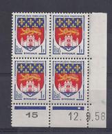 BLASON BORDEAUX N° 1183 - Bloc De 4 COIN DATE - NEUF SANS CHARNIERE - 12/9/58  - 1 Point - 1950-1959