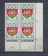 BLASON NANTES N° 1185 - Bloc De 4 COIN DATE - NEUF SANS CHARNIERE - 6/11/58 - 1950-1959