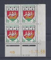 BLASON NANTES N° 1185 - Bloc De 4 COIN DATE - NEUF SANS CHARNIERE - 5/11/58 - 1950-1959