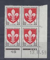 BLASON LILLE N° 1186 - Bloc De 4 COIN DATE - NEUF SANS CHARNIERE - 13/11/59 - 1950-1959