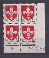 BLASON LILLE N° 1186 - Bloc De 4 COIN DATE - NEUF SANS CHARNIERE - 26/8/58 - 1950-1959
