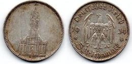Allemagne -  5 Reichsmark 1934 J TB+ - 5 Reichsmark