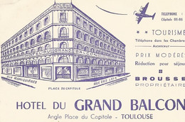 31 TOULOUSE Hotel Du Grand Balcon Angle Place Du Capitol (carte De Visite) - Toulouse