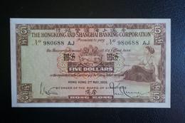 1959 HONG KONG OLD ISSUE, HSBC 5 DOLLARS NOTES #980688 AJ - Hong Kong