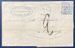 LETTRE Alsace Lorraine 1871 N°6 20c Obl Càd Allemand DIEUZE Belle Frappe ➤ Nancy Taxe 2 Décimes TTB - Elzas-Lotharingen