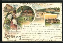Lithographie Leipzig, Sächsisch-Thüringische Industrie & Gewerbe-Ausstellung 1897, Thüringer Waldhütte - Exhibitions