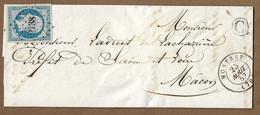 """MONTRET  : 1853 : PC 2138 Sur 25c Présidence N°10 +  CàD  Type 15 + Boite Rurale """" C """"  :  ( Saône Et Loire ) : - 1849-1876: Periodo Clásico"""