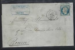 FRANCE 1855 :  LAC Du Havre Pour Rouen Avec Le Y&T 14A, Découpage à Cheval, Obl. PC 1495 - 1853-1860 Napoléon III