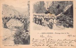 06 - GUILLAUMES - BOIS -Flottage Dans Le Var -  Carte Photo  - ( 10079 )  Voir Scans Recto Verso - - Other Municipalities