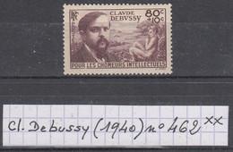France Chômeurs Intellectuels (1940) : Claude Debussy Y/T  462 Neuf ** à 10% De La Cote - Unused Stamps