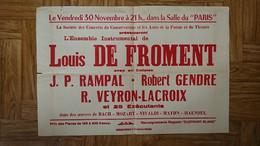 CONCERT LOUIS DE FROMENT CHEF D ORCHESTRE - SALLE DU PARIS - RAMPAL GENDRE VEYRON - AFFICHE PERPIGNAN 60*40 CM - Manifesti